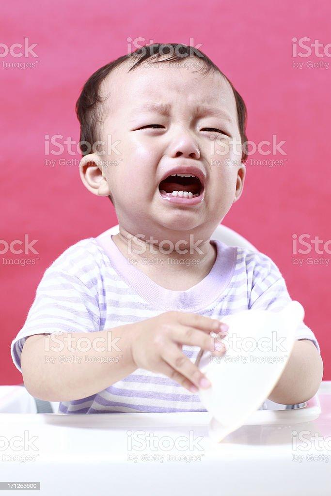 Asian baby crying royalty-free stock photo
