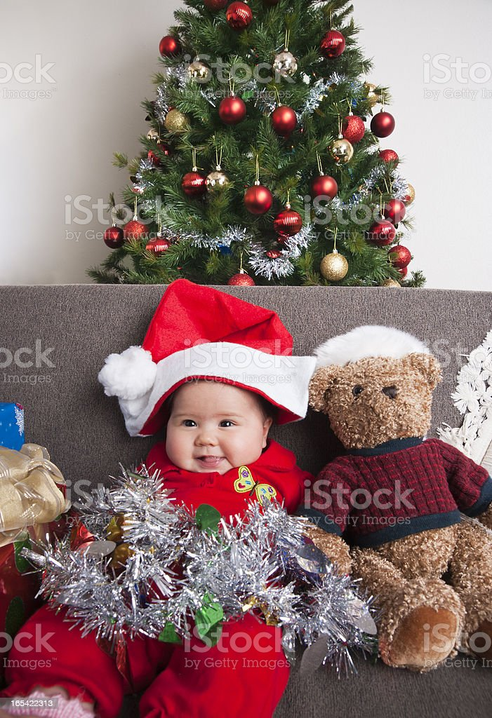 Asian baby Santa portrait stock photo