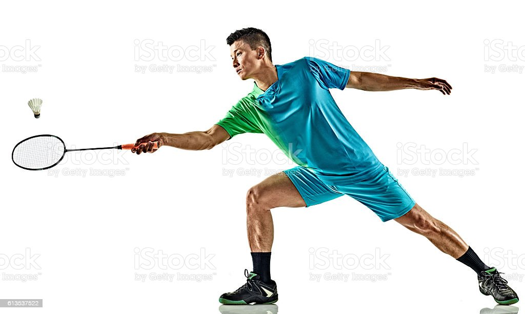 asian badminton player man isolated stock photo