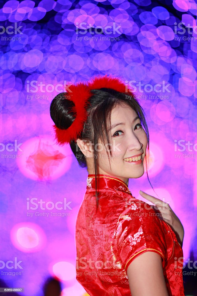 asian beautiful girl chinese traditional red dress colorful nigh stock photo