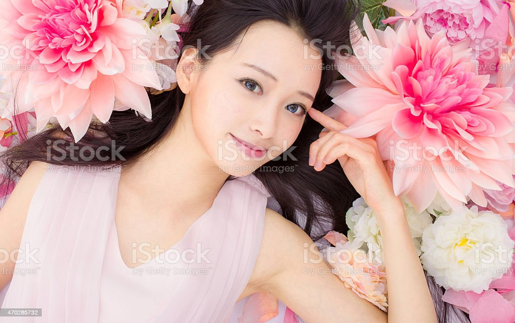 Asian beautiful Girl in flower stock photo