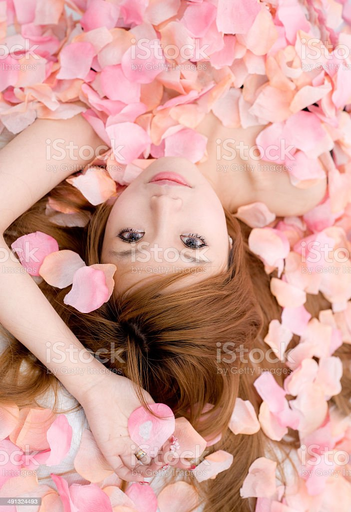Asian beautiful Girl in flower stock photo