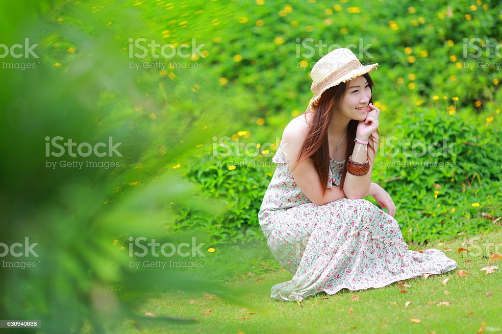 asian beautiful  girl wear floral maxi dress stock photo