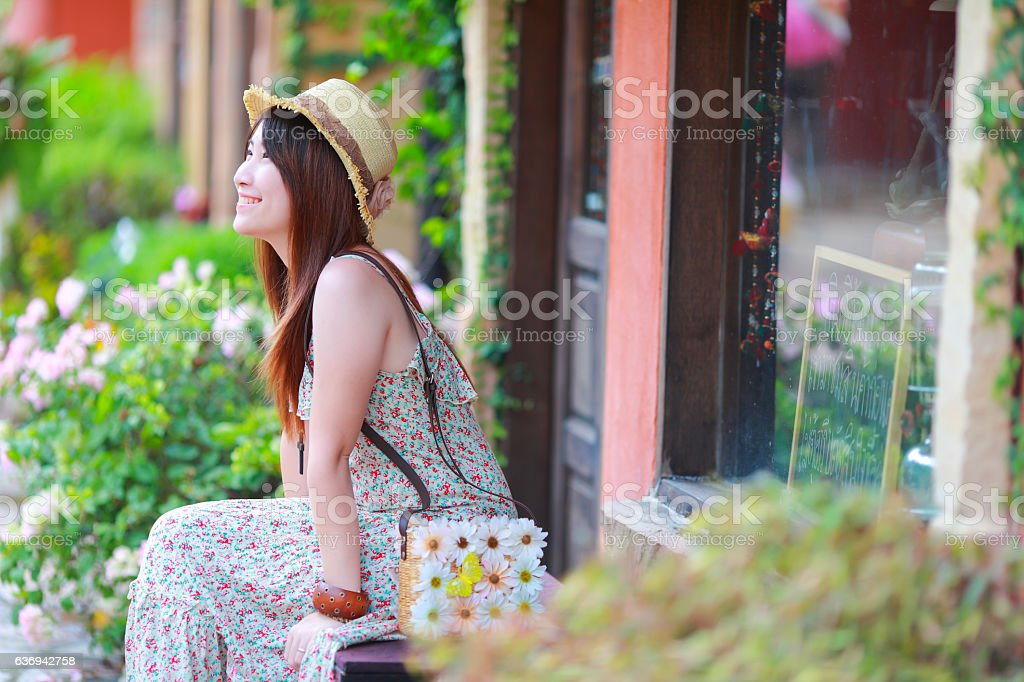 asian beautiful  girl wear floral maxi dress stock photo