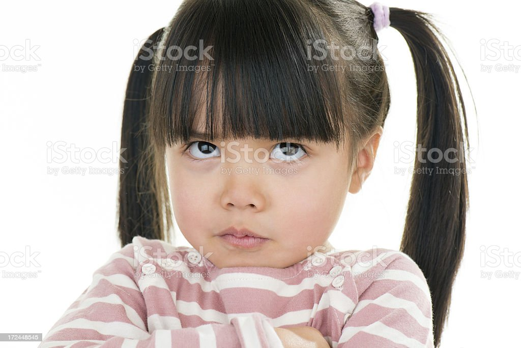 Asian beautiful little girl portrait mobile white background royalty-free stock photo