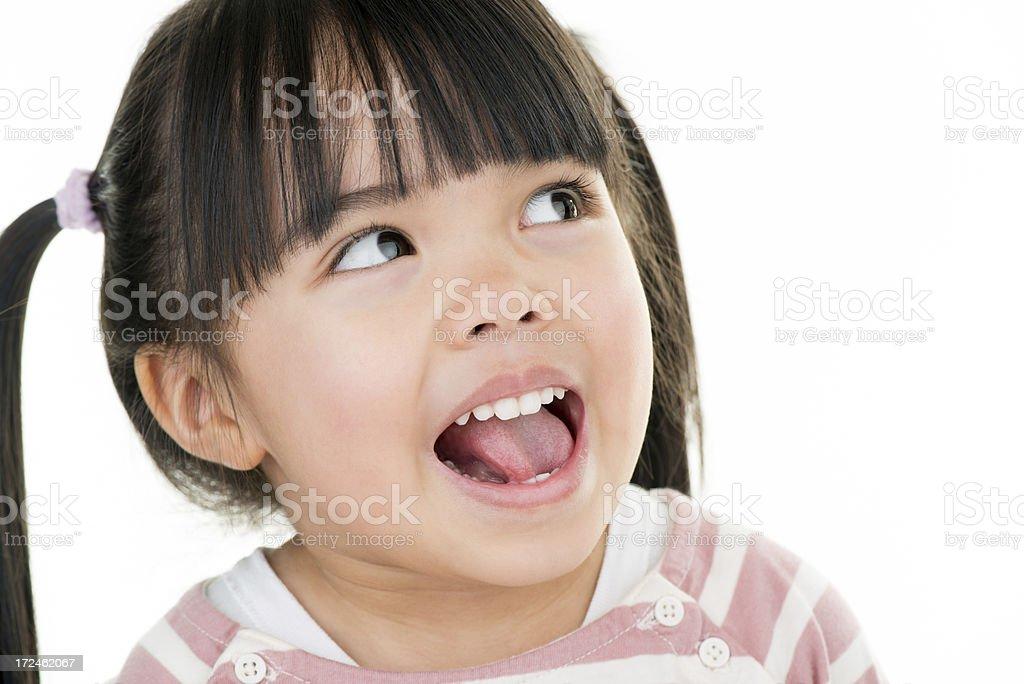 Asian beautiful little girl portrait mobile white background stock photo
