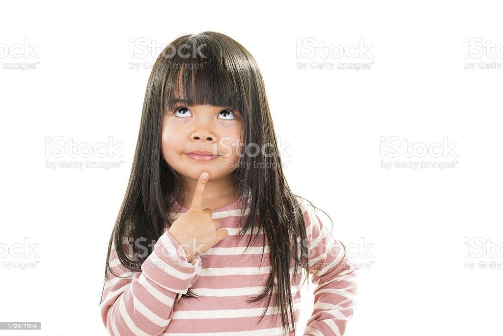 Asian beautiful little girl portrait white background royalty-free stock photo