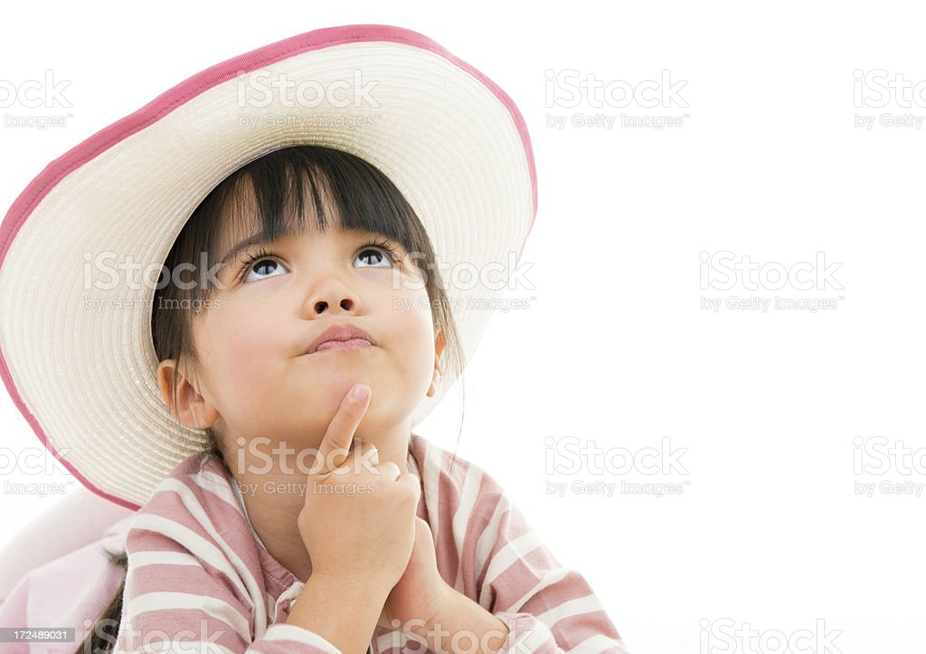Asian beautiful little girl portrait with hat white background stock photo