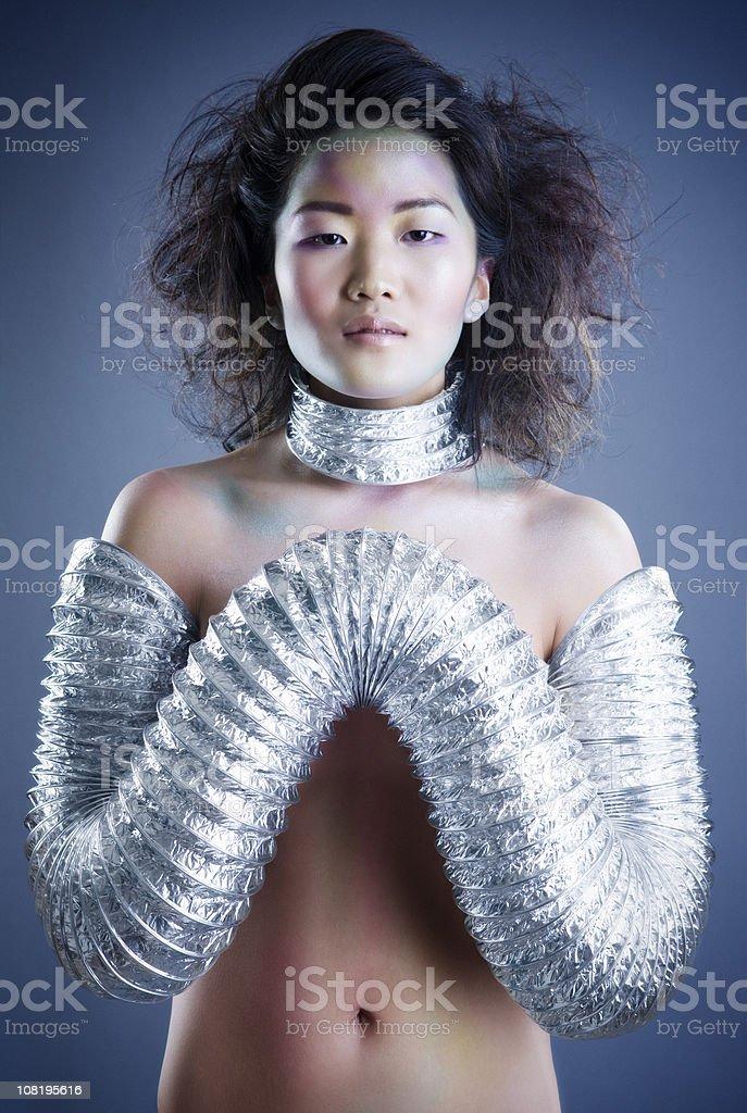 Asian Beautiful, Sexy Young Woman Fashion Model, Futuristic Makeup, Copyspace royalty-free stock photo