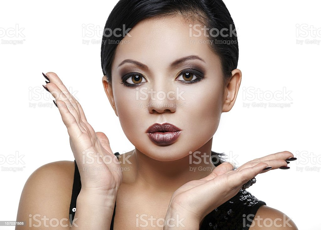 Asian beauty in a strong makeup stock photo