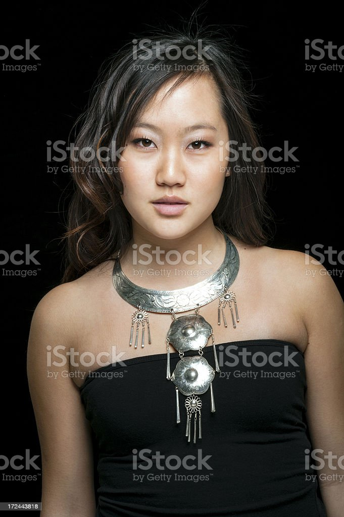 Asian Beauty with Silver Necklace royalty-free stock photo