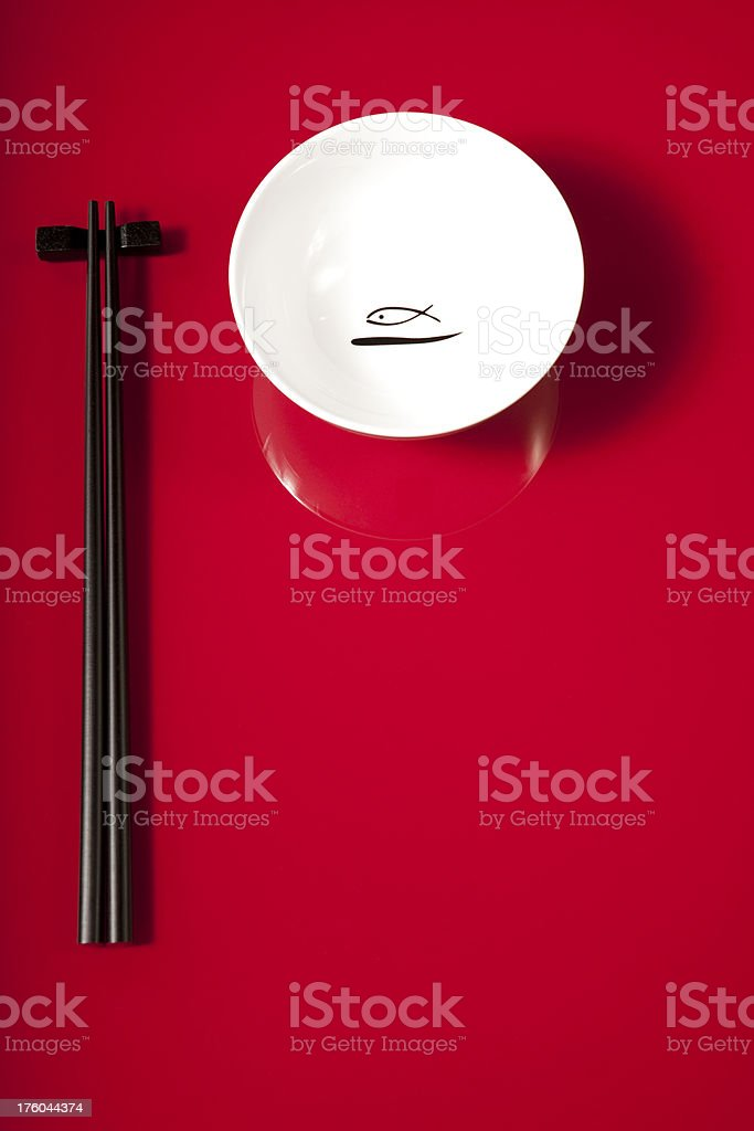 Asian bowl and chopsticks royalty-free stock photo
