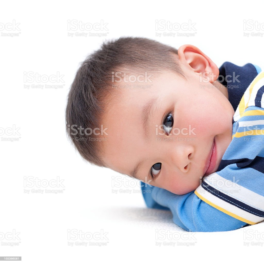 Asian boy isolated on white background stock photo