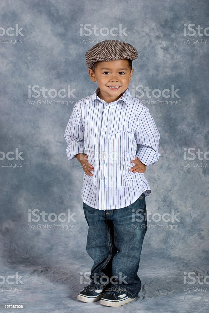 Asian Boy Standing School Pose Hands on Hips stock photo