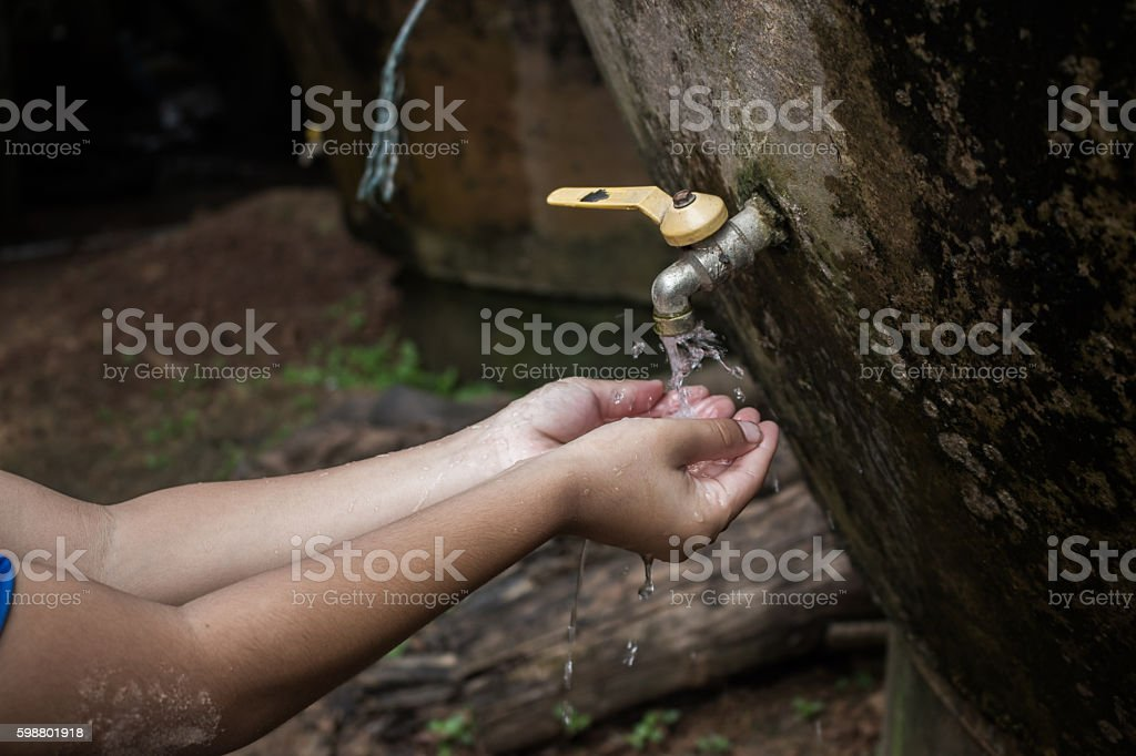 Asian boy water shortage concept. stock photo