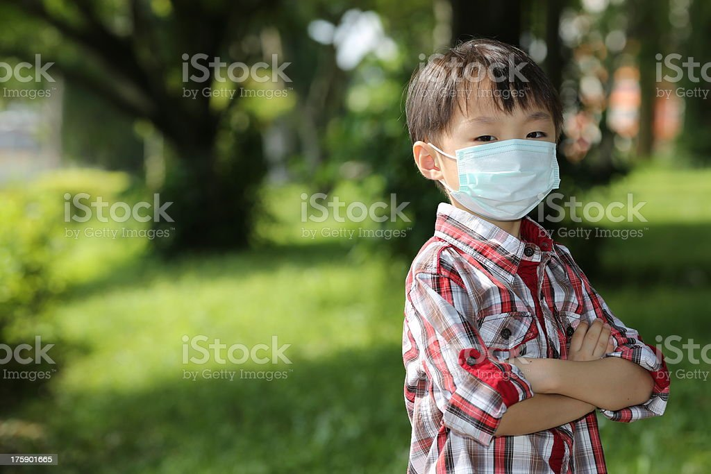 Asian Boy with Face Mask Protection Outdoor stock photo