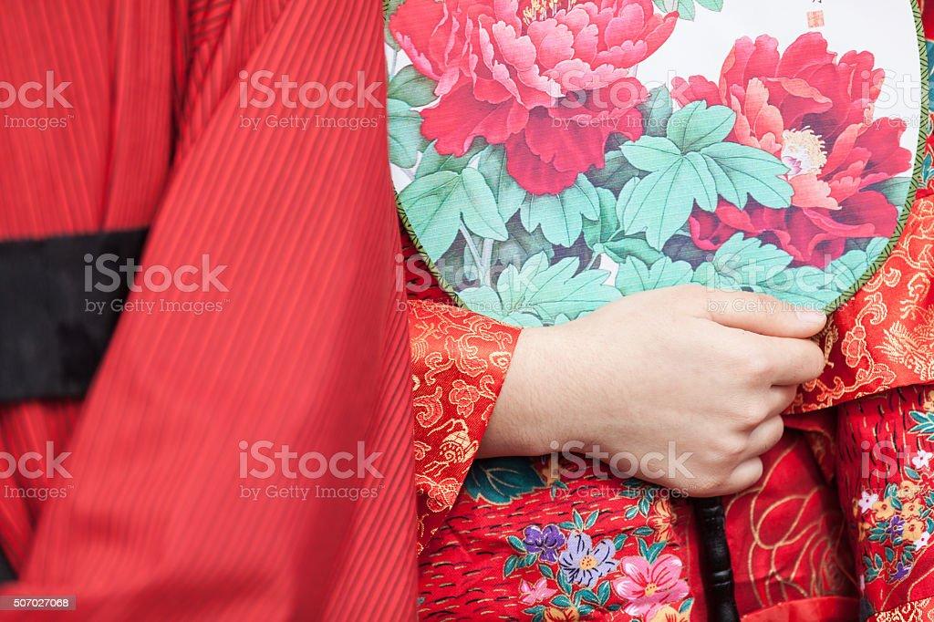 Asian bride wedding dress stock photo