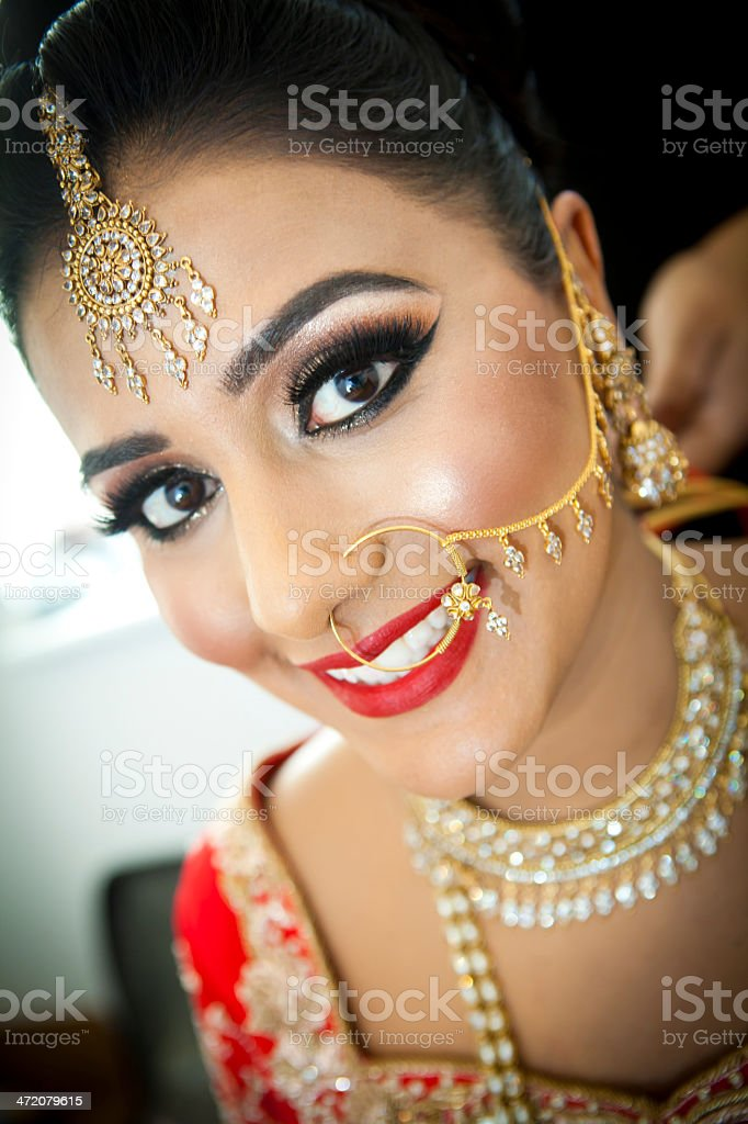 Asian brides wedding day preparations stock photo