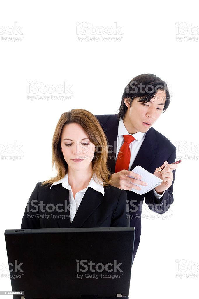 Asian Business Man Cheating Stealing Shoulder Surfing Caucasian Woman Isolated royalty-free stock photo