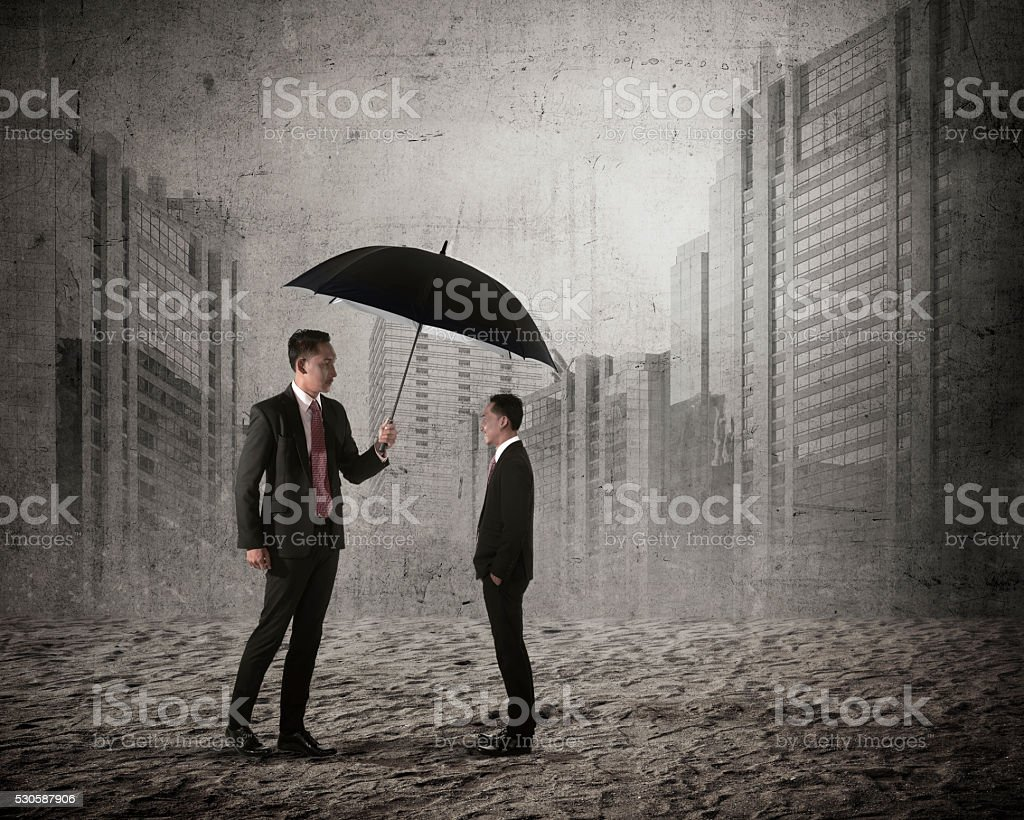 Asian business man cover his other mini version stock photo