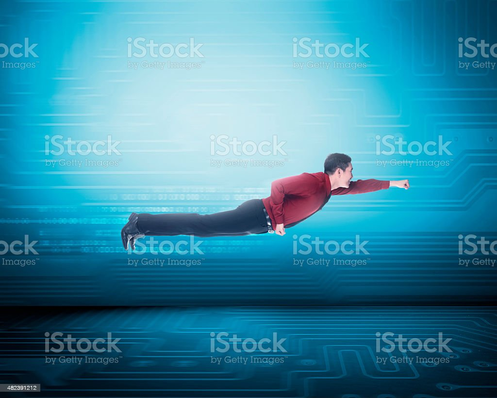 Asian business man flying on binary number stock photo