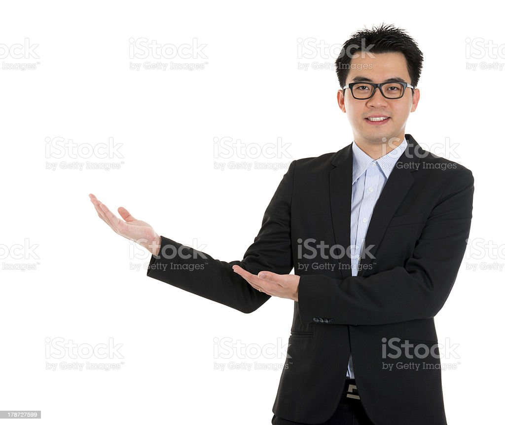 Asian business man hand showing blank space royalty-free stock photo