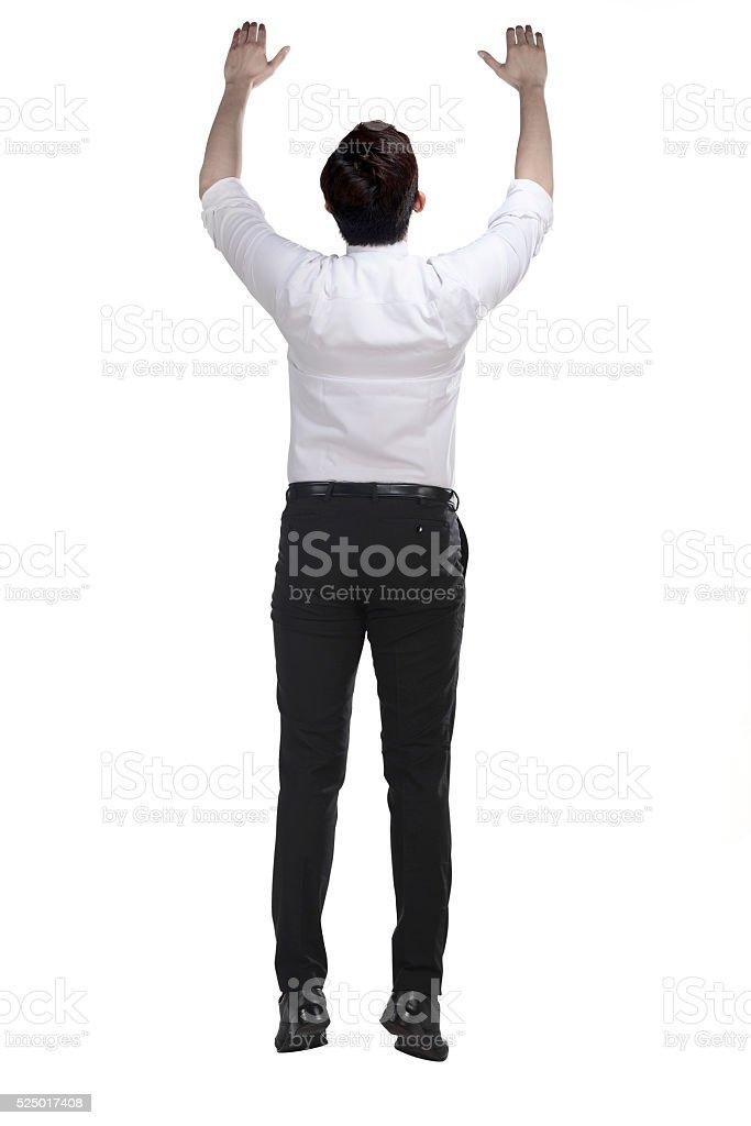 Asian business man hanging on something stock photo