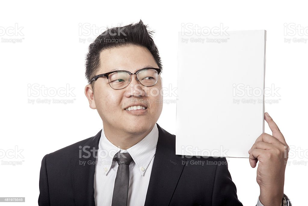 Asian business man  looking at  whiteboard on his sholder stock photo