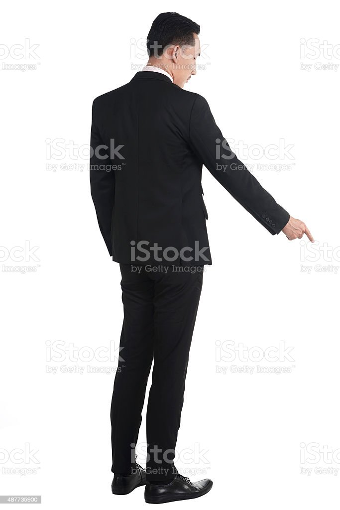 Asian business man pointing something stock photo