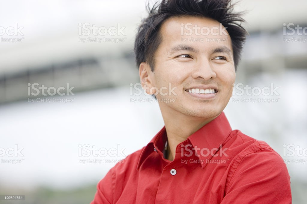Asian Business Man Portrait Outdoors, Copy Space royalty-free stock photo