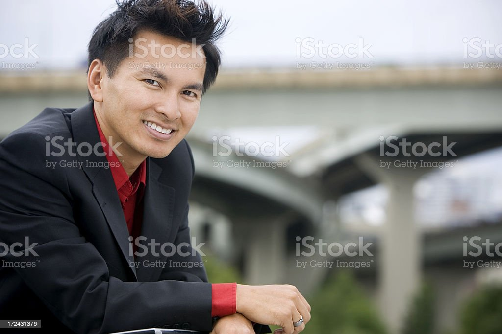 Asian Business Man Portrait, Smiling at Camera, Outdoors, Copy Space royalty-free stock photo