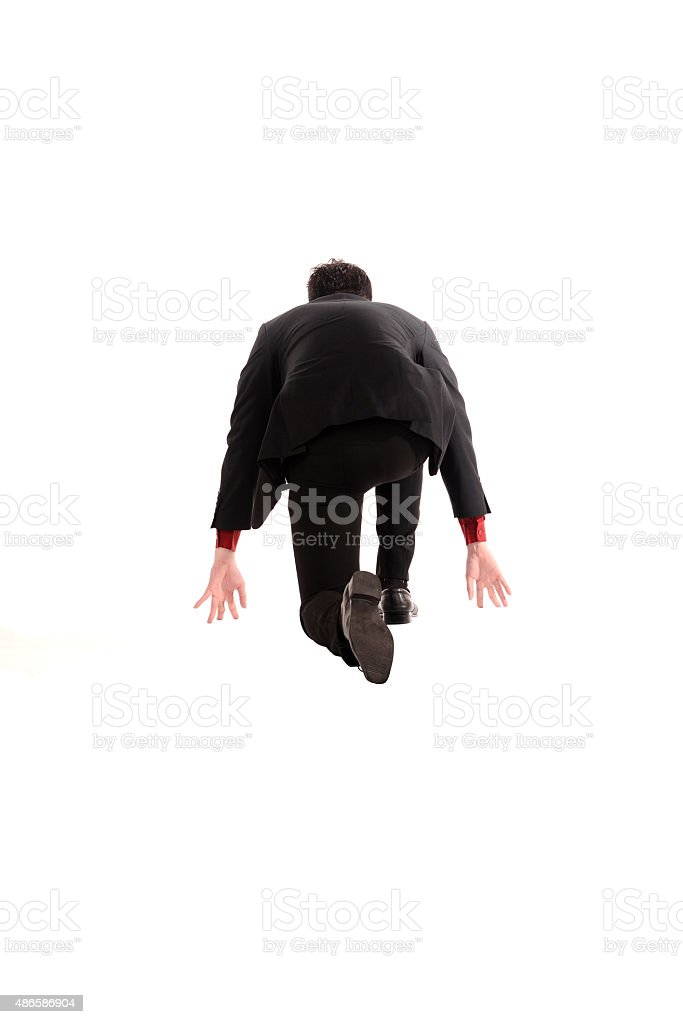 Asian business man running stock photo