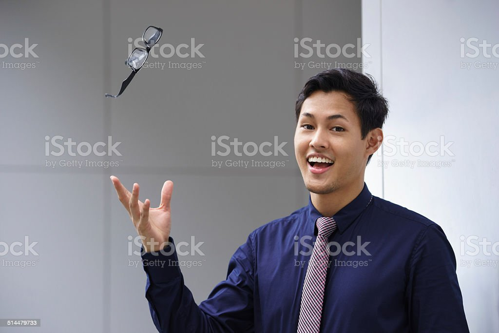 asian business man throwing eyeglasses glasses eyesight stock photo