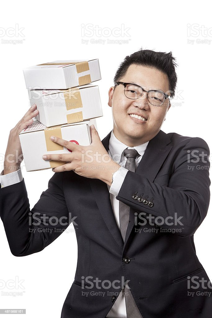 Asian business man with 3 boxs on his sholder stock photo