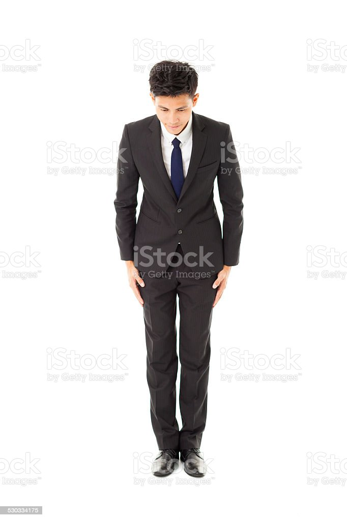 asian business man with bow stock photo