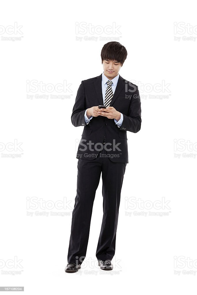 Asian business man with cellphone. royalty-free stock photo