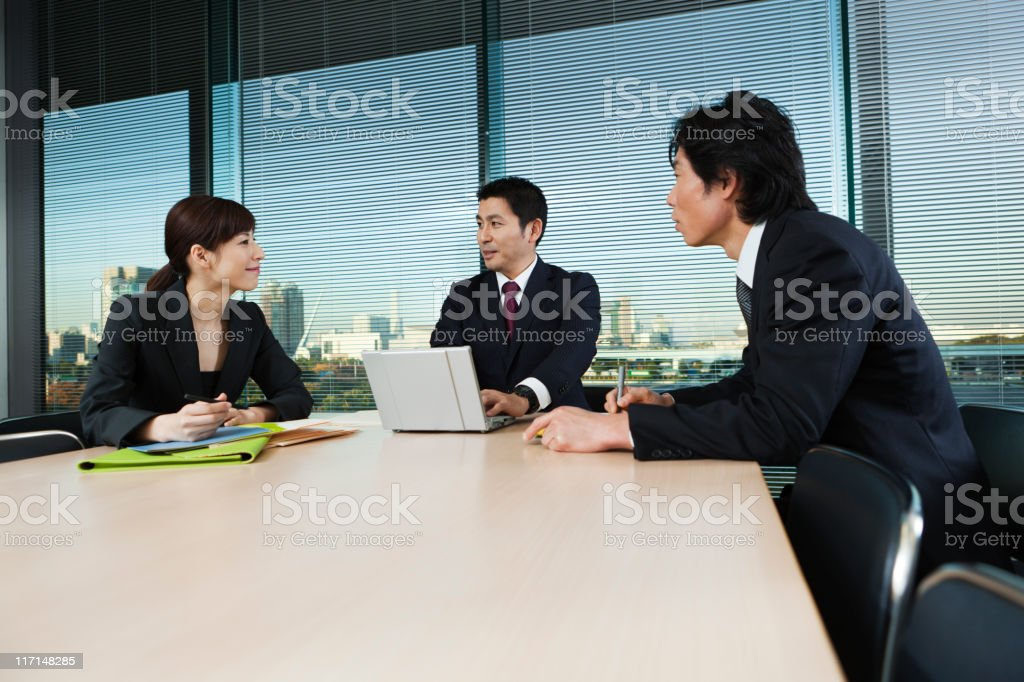 Asian Business Office Meeting in Conference Room of Tokyo Japan royalty-free stock photo