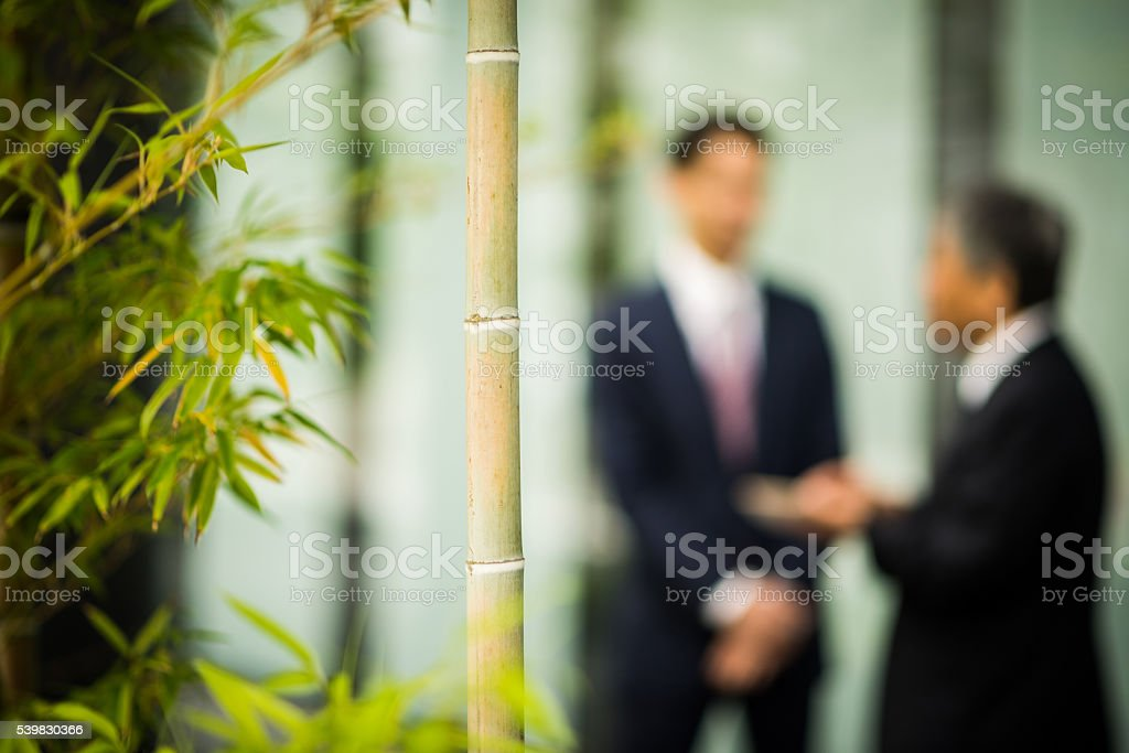 Asian business with focus on bamboo stock photo