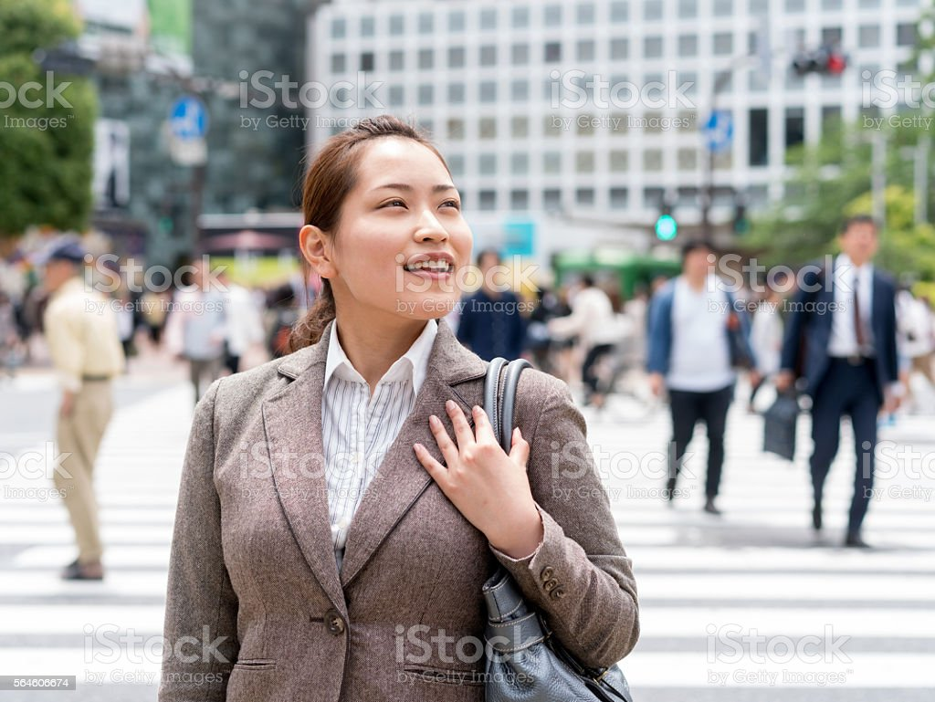Asian business woman on the street stock photo