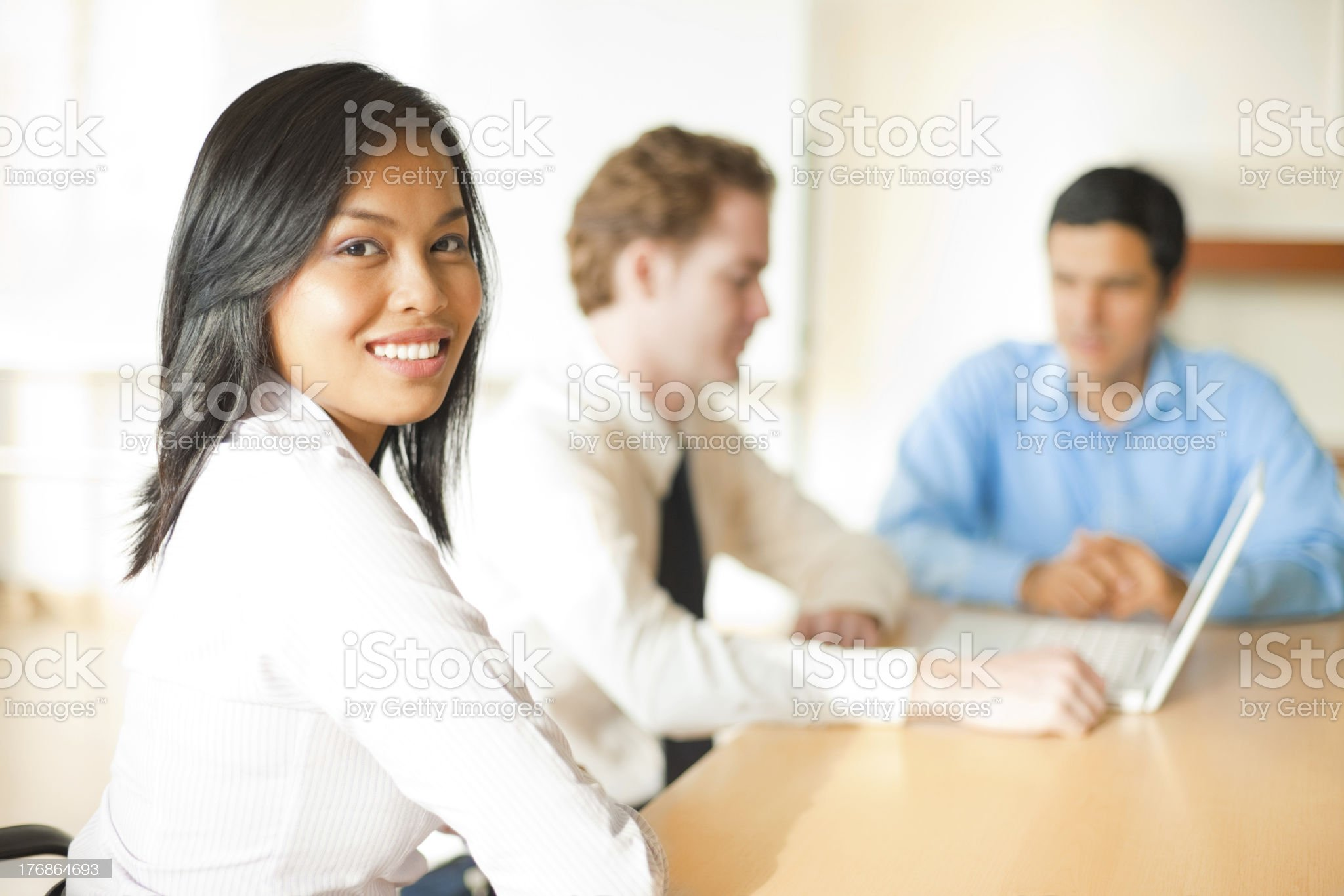 Asian Business Woman Over Shoulder royalty-free stock photo