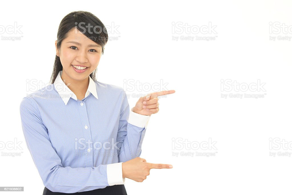Asian business woman pointing stock photo