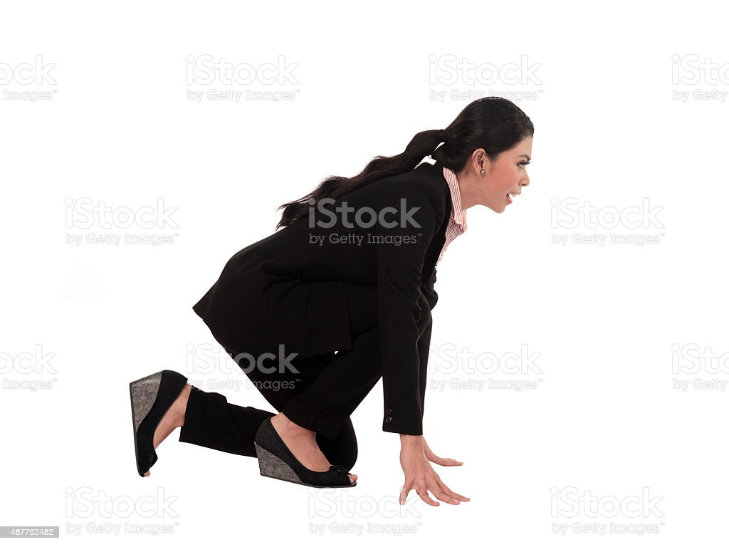 Asian business woman running stock photo