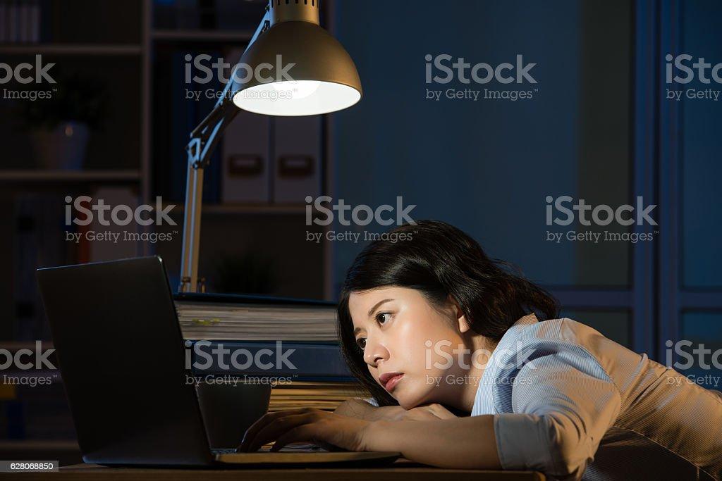 asian business woman sleepy working overtime late night stock photo