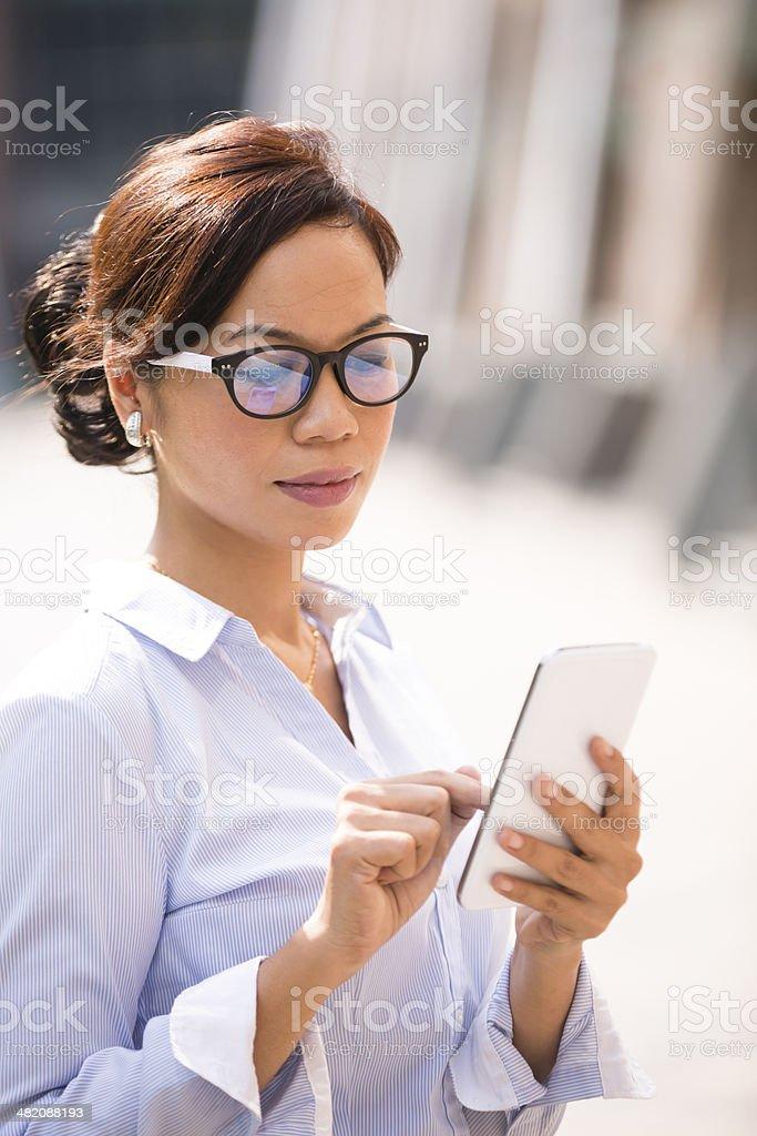 Asian Business Woman Smart Phone stock photo