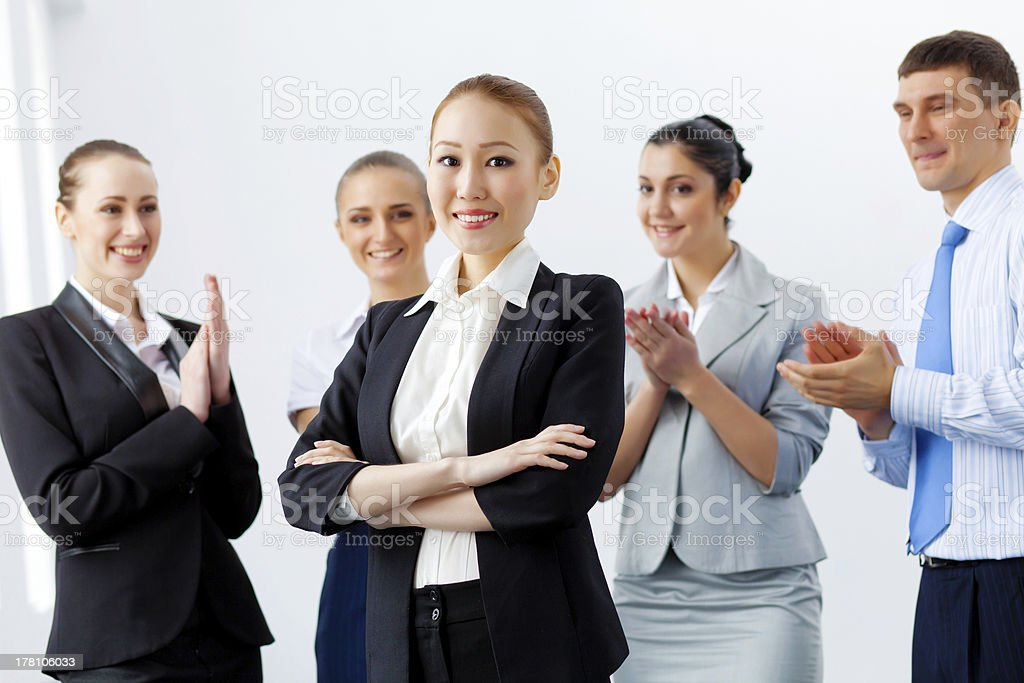 Asian business woman with colleagues royalty-free stock photo