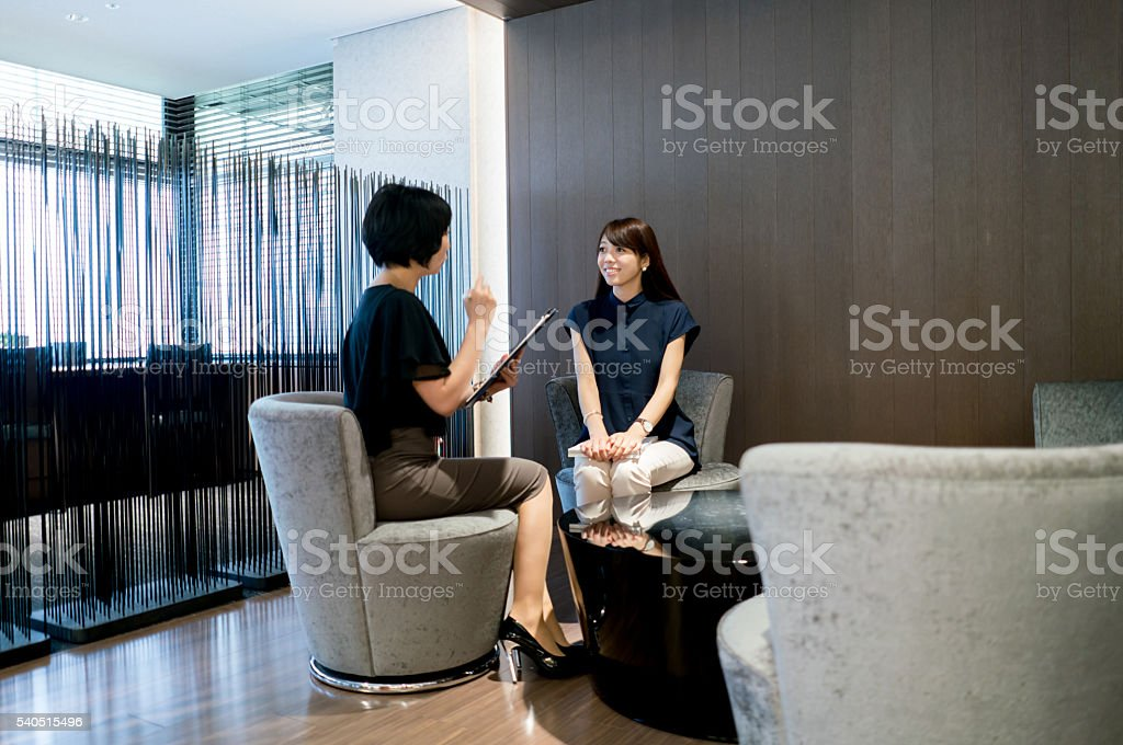 Asian business women in a job interview stock photo