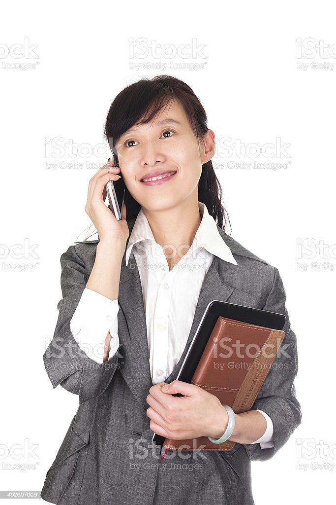 Asian business women on the phone isolated stock photo