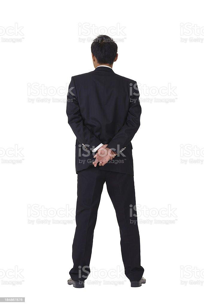Asian businessman cross fingers stock photo