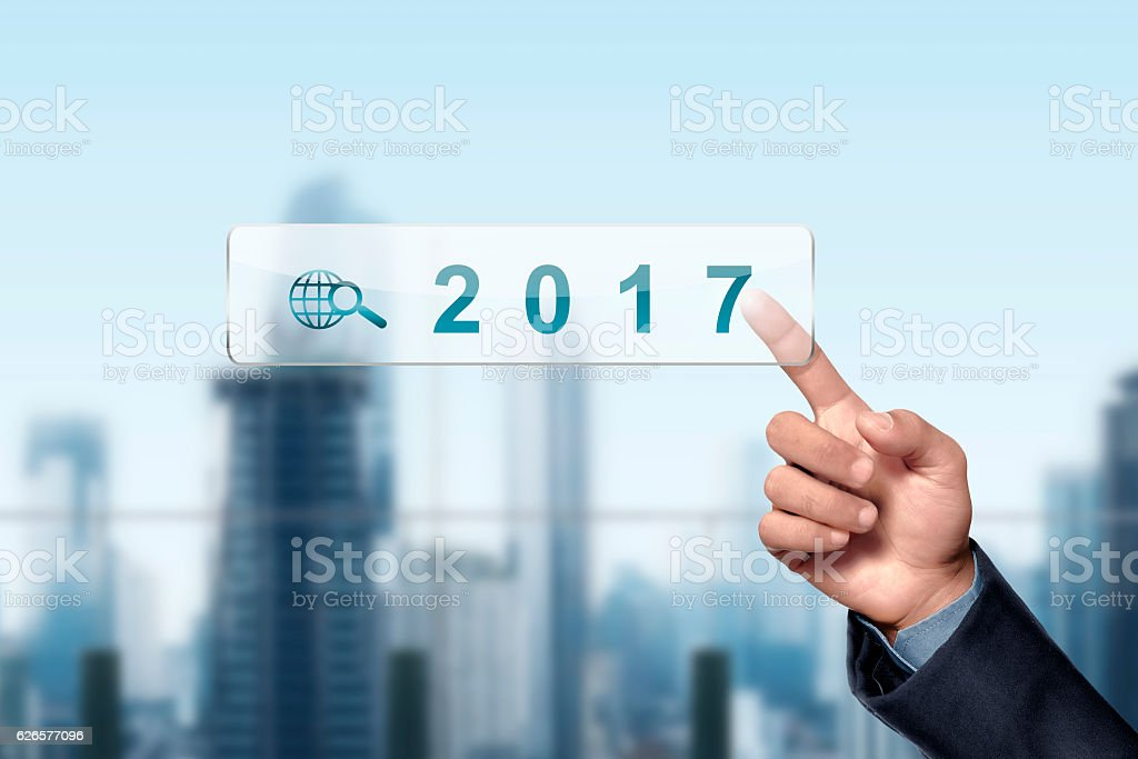 Asian businessman hand touched 2017 stock photo