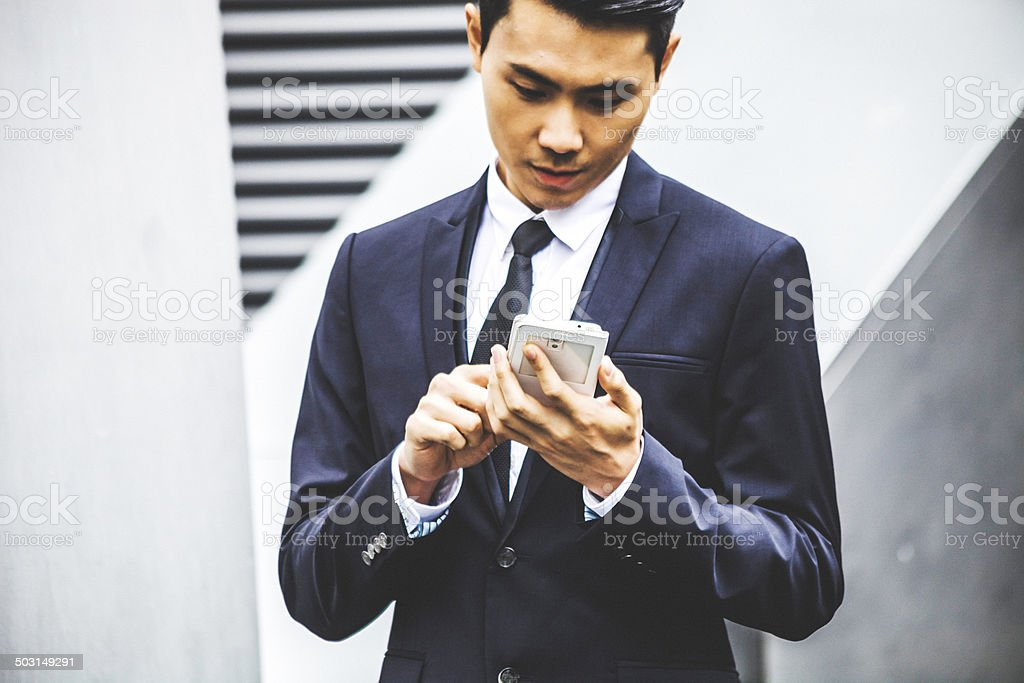Asian businessman on the phone. stock photo